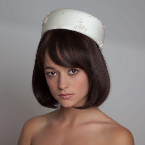 silk bridal pillbox hat