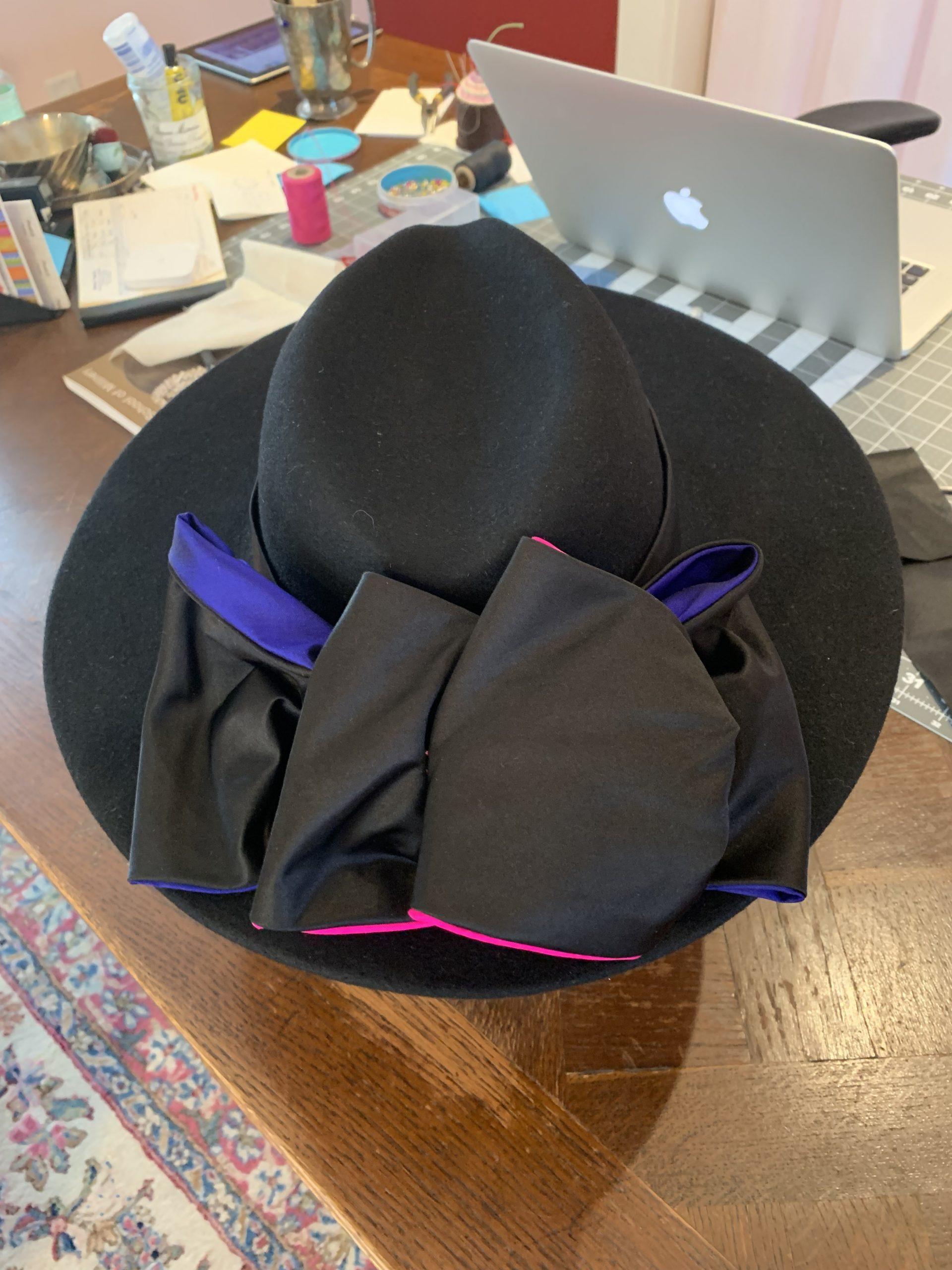 black fedora with bow trim