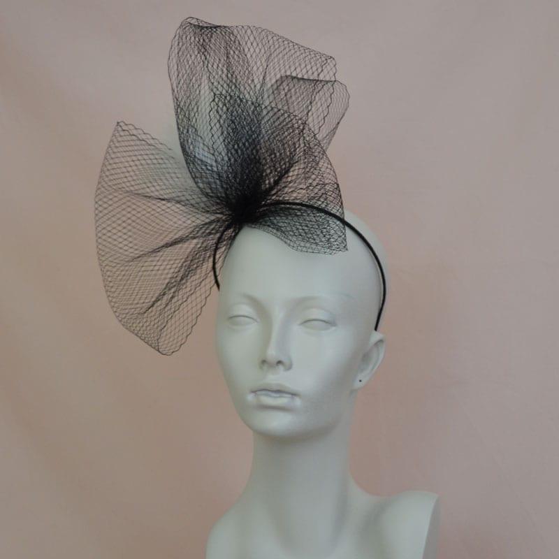 black veil bow glamorous headband